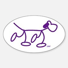 Stick Figure Doggie Oval Decal