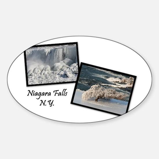 Winter Niagara Falls Oval Decal