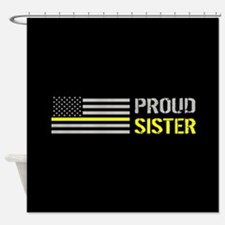 U.S. Flag Yellow Line: Proud Sister Shower Curtain