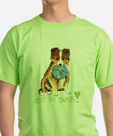 Sheltie earth-K T-Shirt