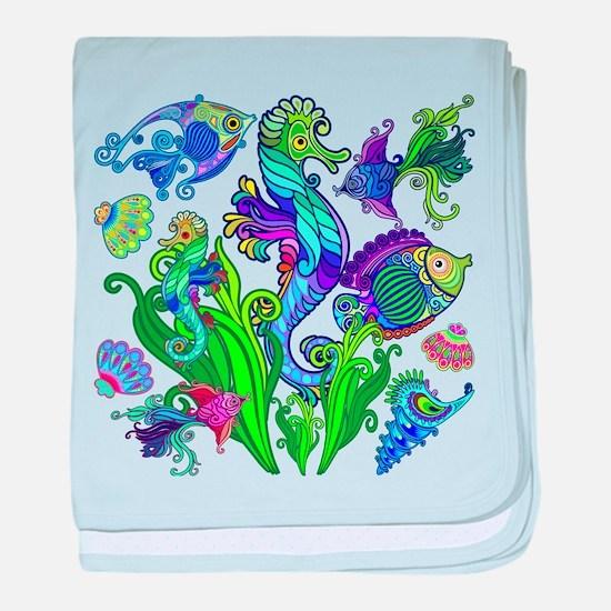 Exotic Marine Life Decorative Style baby blanket