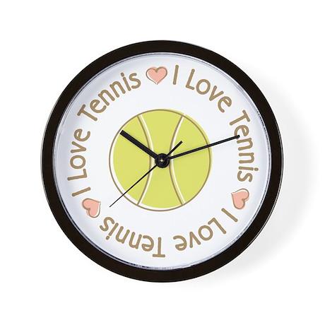 I Love Heart Tennis Wall Clock