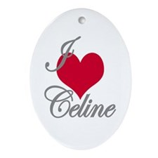 I love (heart) Celine Oval Ornament