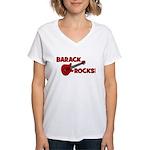 BARACK ROCKS! Women's V-Neck T-Shirt