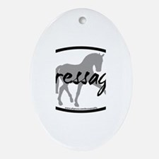 Dressage Sidepass w/ Text Oval Ornament