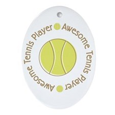 Awesome Tennis Player Oval Ornament