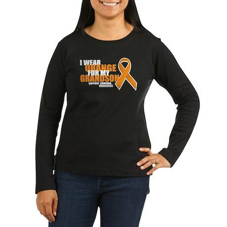 Leukemia: Orange For Grandson Women's Long Sleeve