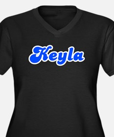 Retro Keyla (Blue) Women's Plus Size V-Neck Dark T