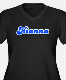 Retro Kianna (Blue) Women's Plus Size V-Neck Dark