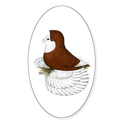 English Trumpeter Red Bald Oval Decal