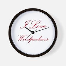 I Love Woodpeckers Wall Clock