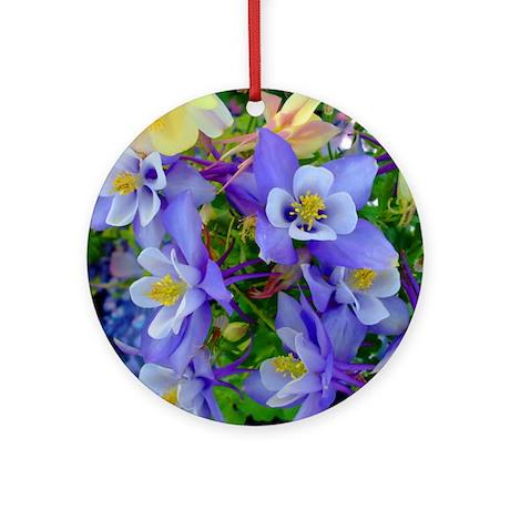 Columbine Flowers Ornament (Round)