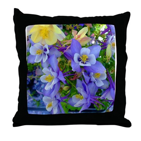 Columbine Flowers Throw Pillow