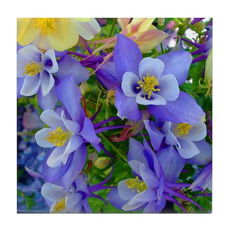 Columbine Flowers Tile Coaster