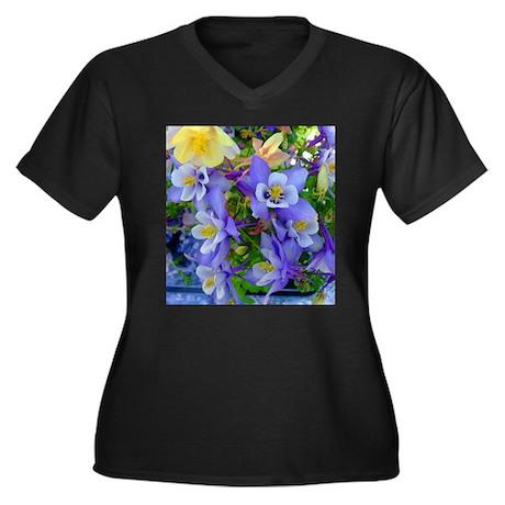 Columbine Flowers Women's Plus Size V-Neck Dark T-