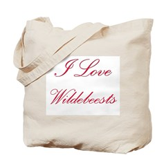 I Love Wildebeests Tote Bag