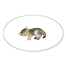 Cat Nap Oval Stickers