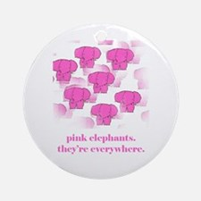 Pink Elephants Ornament (Round)