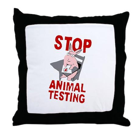 Stop Animal Testing Throw Pillow