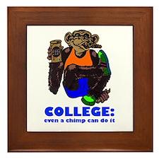 College Chimp Framed Tile