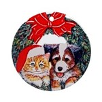 Christmas pet wreath Ornament (Round)