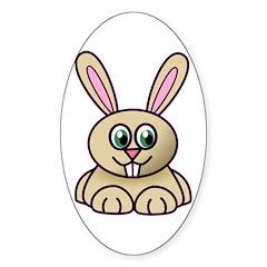 Cartoon bunny Oval Sticker (10 pk)