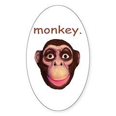 Monkey Head Oval Sticker (10 pk)