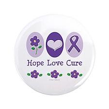 "Purple Ribbon Alzheimer's 3.5"" Button"