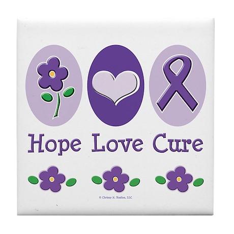 Purple Ribbon Alzheimer's Tile Coaster