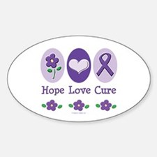 Purple Ribbon Alzheimer's Oval Decal