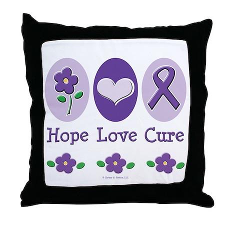 Purple Ribbon Alzheimer's Throw Pillow