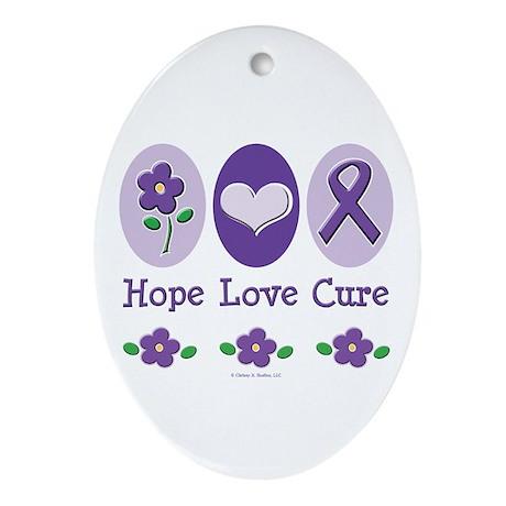 Purple Ribbon Alzheimer's Oval Ornament