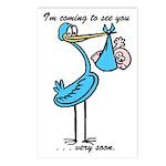 Stork Visit Boy Postcards (Package of 8)