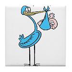 Stork Visit Boy Tile Coaster