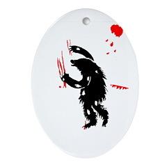 Bear Attack Oval Ornament