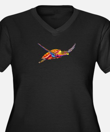 Sea Turtle Women's Plus Size V-Neck Dark T-Shirt