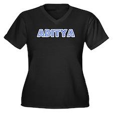 Retro Aditya (Blue) Women's Plus Size V-Neck Dark