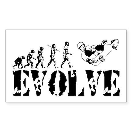 Skateboarding Evolution Rectangle Sticker