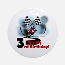 Motorcycle Racing 3rd Birthday Ornament (Round)
