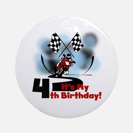 Motorcycle Racing 4th Birthday Ornament (Round)