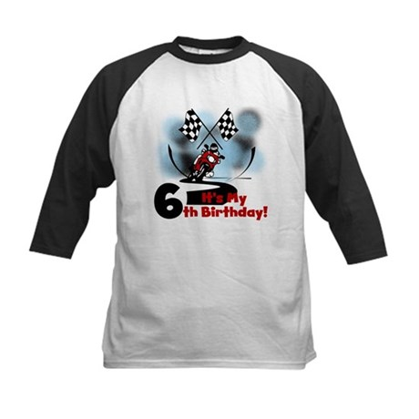 Motorcycle Racing 6th Birthday Kids Baseball Jerse