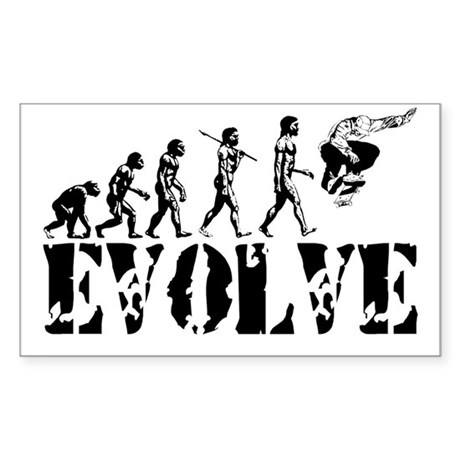 Skateboarding Evolution Rectangle Sticker