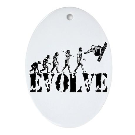 Snowboarding Evolution Oval Ornament