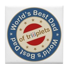 World's Best Dad of Triplets Boys Girl Tile Coaste