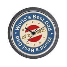 World's Best Dad of Triplets Boys Girl Wall Clock