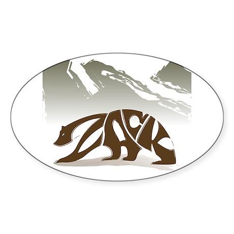 Zack (Brown Bear) Oval Sticker