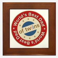 World's Best Dad of Twin Boy Girl Framed Tile