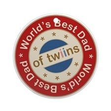 World's Best Dad of Twin Boy Girl Ornament (Round)