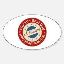 World's Best Dad of Twin Boy Girl Oval Decal