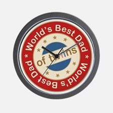 World's Best Dad of Twin Boy Girl Wall Clock